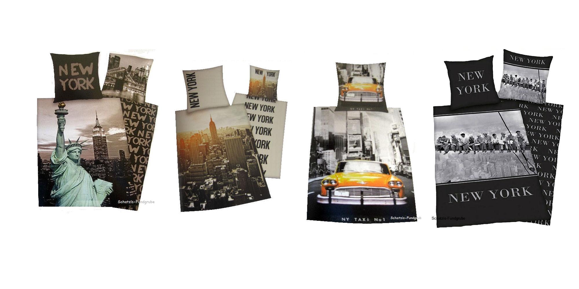 bettw sche mit verschiedene motiven aus new york auch in bergr e 155x220 cm ebay. Black Bedroom Furniture Sets. Home Design Ideas